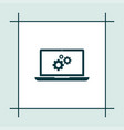 laptop icon simple gear vector image