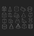 line geometric shapes 3d icons set vector image vector image