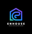 logo letter e house gradient colorful style vector image