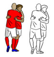 male soccer players celebrating goal with hug vector image