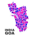 mosaic goa state map of square elements vector image vector image