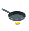 Pan on white background Empty Iron frying pan on vector image vector image