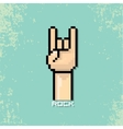 Pixel art hand sign rock n roll music