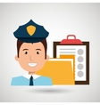 police with folder and clipboard isolated icon vector image