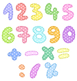 polka dot numbers with stitches vector image