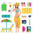 preparing for summer beach holiday to vacation vector image vector image