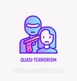 quasi-terrorism thin line icon terrorist in mask vector image