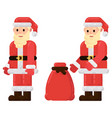 santa claus with a bag of gifts flat character vector image