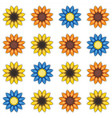 seamless pattern with cartoon colored flowers vector image vector image