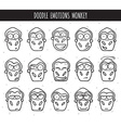 Set 15 doodle heads of monkeys with different vector image vector image