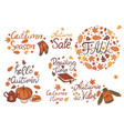 set autumn inscriptions on a white background vector image