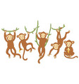 set cute monkeys isolated on a white background vector image