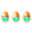 set easter eggs in medical face mask on white vector image vector image
