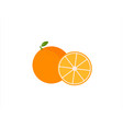 set of fresh ripe half oranges with leaves vector image