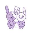 silhouette cute couple rabbit wild animal with vector image vector image