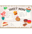 sweet menu for confectionery vector image