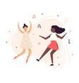 two happy dancing women having fun vector image vector image