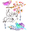 Watercolor flowers and bird background vector image