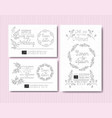 wedding and married invitation set cards with vector image