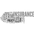 what is term life insurance text word cloud vector image vector image