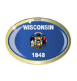 wisconsin state flag oval button vector image vector image