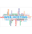 word cloud web hosting vector image vector image