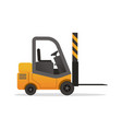 yellow forklift truck on white background vector image vector image