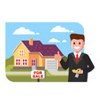 realtor shows the house for sale vector image