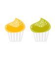 colorful cupcakes cartoon vector image