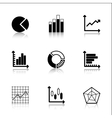 Diagram Icons Set with reflection vector image