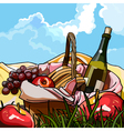 still life picnic basket with fruit and a bottle vector image