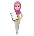 arabic business woman smiling cartoon character vector image vector image