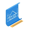 Architectural project icon isometric 3d style vector image vector image