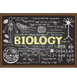 Biology icon set on chalkboard vector image vector image