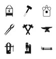 blacksmith house icon set simple style vector image vector image