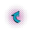 Blue spiral arrow icon comics style vector image vector image