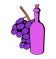bottle of wine grape branch icon cartoon vector image vector image