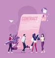businessman woman handshake after sign up vector image