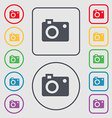camera icon sign symbol on the Round and square vector image