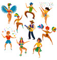 carnival people happy dancing men and women in vector image