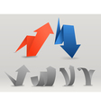 Colorful polygonal origami arrows set vector image vector image