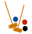 croquet with balls on white background vector image