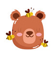 cute animals head bear and bees cartoon isolated vector image