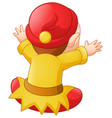 cute dwarf cartoon with back view vector image vector image