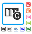 euro bar code price framed icon vector image