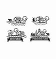 farm emblems with mill and cow vector image vector image