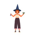 female kid wizard holding beaker and herbs for vector image vector image