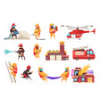 fire department icon set vector image vector image