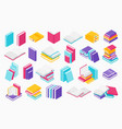 flat books icons stack open and close books vector image