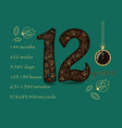 floral card with number twelve and pocket watch vector image vector image